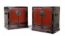PAIR OF LACQUER TABLE CABINETS 44cm wide, 47cm high, 29cm deep