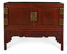 A HUANGHUALI CABINET ON STAND QING DYNASTY 142cm wide, 114cm high, 53cm deep