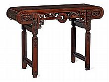 A HUANGHUALI LUTE TABLE QING DYNASTY 122cm wide, 84cm high, 40cm deep