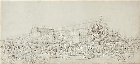 GEORGE BAXTER (BRITISH 1804-1867) STUDY OF CRYSTAL PALACE 16cm x 35cm (6.25in x 13.75in)