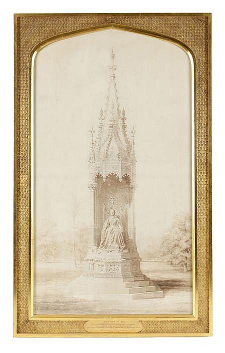 JOHN CHARLES ROBINSON (BRITISH 1824-1913) & EDWIN PEARCE (19TH CENTURY BRITISH) DESIGN FOR MATTHEW NOBLE'S MONUMENT TO QUEEN VICTORI..