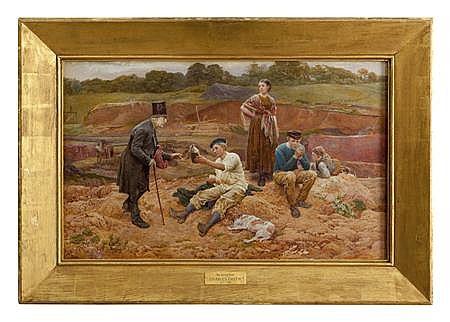 CHARLES GREEN R.I. (BRITISH 1840-1898) THE BRICK FIELD 47cm x 77cm (18.5in x 30.25in)