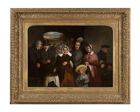 SIR WILLIAM FETTES DOUGLAS P.R.S.A (SCOTTISH 1822-1891) THE WIDOW'S MITE 65cm x 90cm (25.6in x 35.4in)