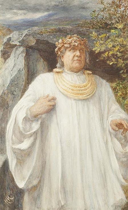 SIR HUBERT VON HERKOMER R.A. (BRITISH 1849-1914) HWFA MON, ARCH-DRUID OF WALES 59cm x 37cm (23.2in x 14.6in)