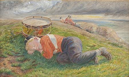 FREDERICK JAMES SHIELDS A.R.W.S. (BRITISH 1833-1911) SKETCH FOR THE DRUMMER BOY'S DREAM 29cm x 48cm (11.4in x 18.9in)