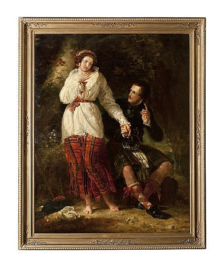 BENJAMIN ROBERT HAYDON (BRITISH 1786-1846) QUEEN VICTORIA AND PRINCE ALBERT AS HIGHLAND LOVERS 180cm x 142cm (70.9in x 55.9in)