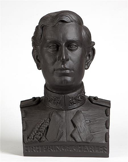 DAVID MCFALL R.A. (BRITISH, 1919-1988) FOR WEDGWOOD BUST OF PRINCE CHARLES 53cm (20.9) high