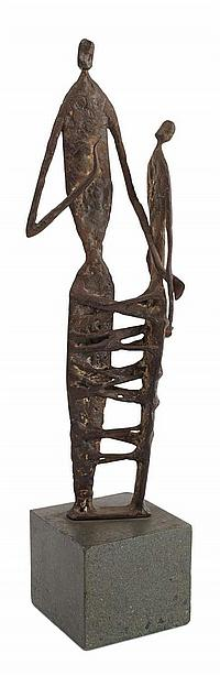 § RONALD POPE (BRITISH 1920-1997) FIGURE GROUP total height, 37.5cm