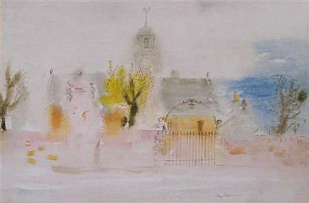 SAX SHAW D.A. (SCOTTISH 1916-2003) ELIE PARISH CHURCH 35cm x 53cm (13.75in x 21in) and another by the same hand, a pair (2)