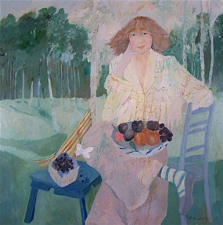 § BRENDA LENAGHAN R.S.W. (SCOTTISH B.1941) FRUIT IN THE GARDEN 90cm x 90cm (35.5in 35.5in)