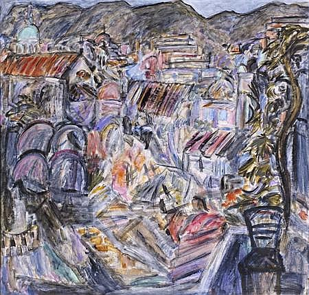 § FIONNA CARLISLE (SCOTTISH B. 1954) XANIA, GREEK LANDSCAPE 180cm x 190cm (71in x 75in)