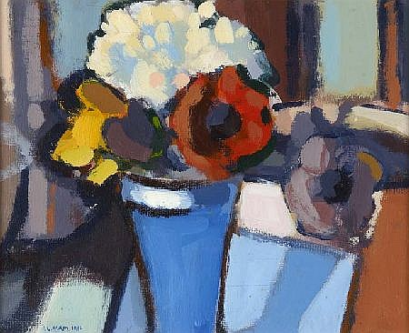 I. LESLIE MAIN (20TH CENTURY) FLOWERS IN A CRYSTAL VASE 20cm x 25cm (8in x 10in)