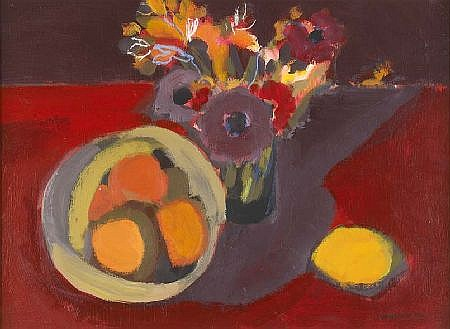 I. LESLIE MAIN (20TH CENTURY) STILL LIFE ON RED 30cm x 40cm (11.75in x 15.75in)