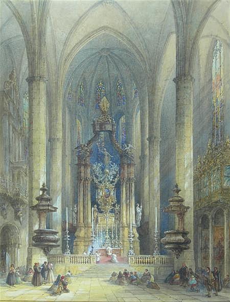 SAMUEL READ (C.1815-1883) BRITISH TOLEDO CATHEDRAL 56cm x 43cm (22in x 17in)