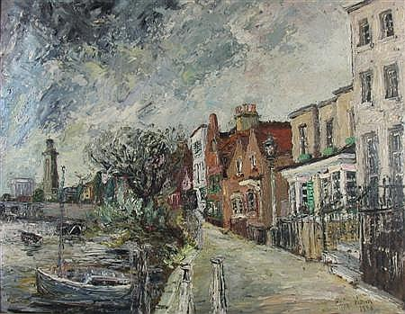 GEORGE HANN (20TH CENTURY) BRITISH STREET SCENE, CHELSEA 55cm x 72cm (21.5in x 28.25in)