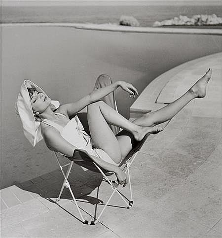 § GEORGE DAMBIER (FRENCH, B. 1925) MARIE-HELENE ARNAUD, EDEN ROC, CAP D'ANTIBES. ELLE, 10TH JUNE 1957 40.5cm x 51cm (16in x 20in)