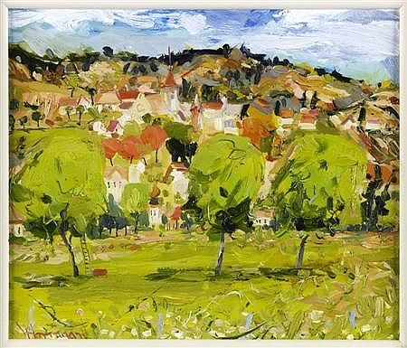 JAMES HARRIGAN (SCOTTISH, B. 1937) PASTORAL LANDSCAPE 30cm x 25cm (12in x 10in)