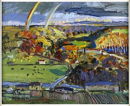 DUNCAN SHANKS R.S.A., R.S.W. (SCOTTISH, B.1937) RAINBOW OVER THE CLYDE VALLEY 53cm x 66cm (21in x 26in)