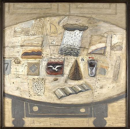 JOCK MACINNES (SCOTTISH B. 1943) STILL LIFE 91cm x 91cm (36in x 36in)