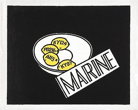 IAN HAMILTON FINLAY (SCOTTISH, 1925-2006) MARINE and another seven by the same hand, 'Sea Land', 'Postcodes', 'Summer Sales', 'L