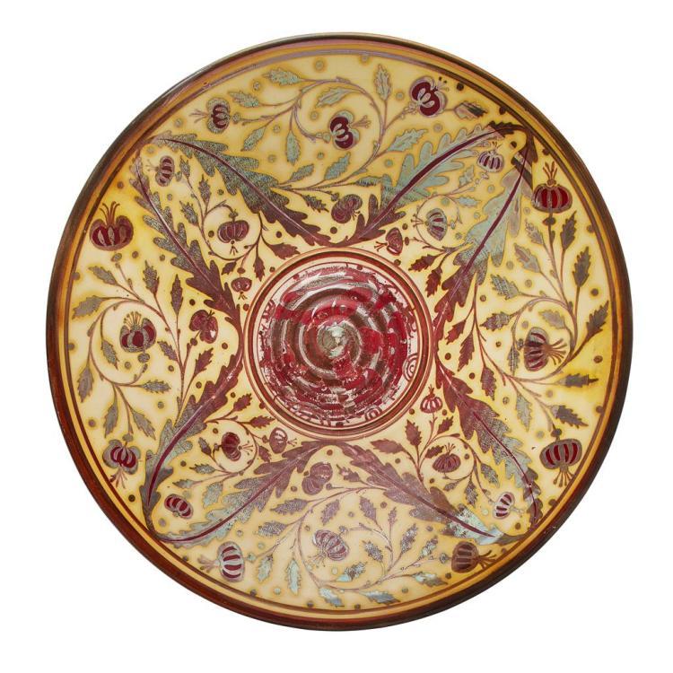WILLIAM S. MYCOCK (1872-1950) FOR PILKINGTON'S SHALLOW LUSTRE BOWL, DATED 1909 31cm diameter