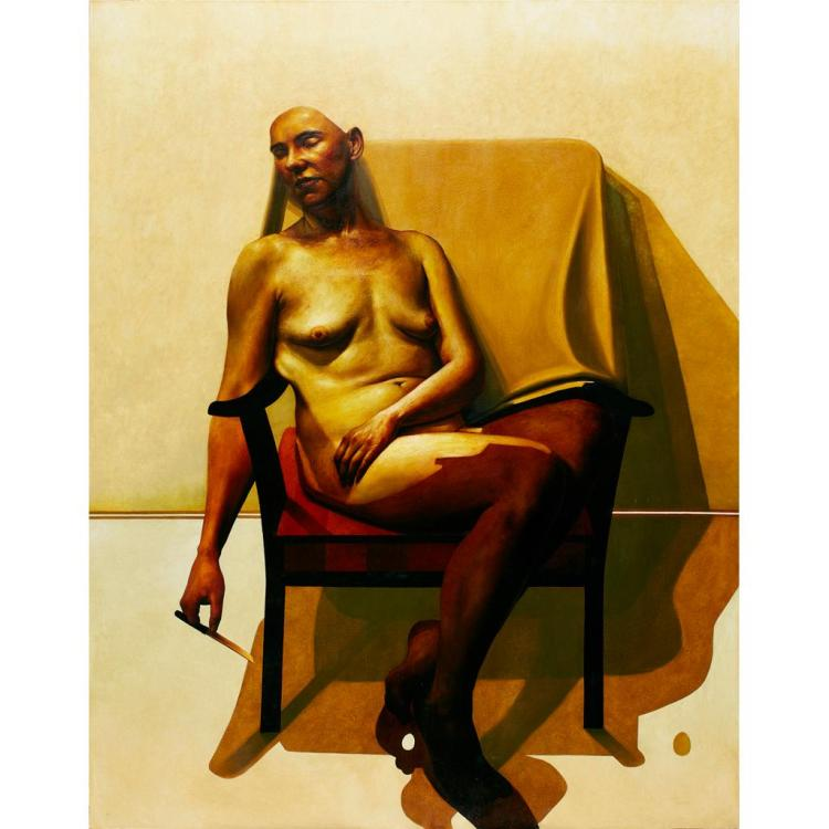 [§] CRAIG MULHOLLAND (SCOTTISH B.1969) NUDE WITH KNIFE 244cm x 183cm (96in x 72in)