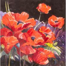 [§] JAMES S. DAVIS R.S.W. (SCOTTISH B.1944) STILL LIFE WITH RED POPPIES 49cm x 49cm (19.25in x 19.25in)