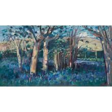[§] JAMES FULLARTON (SCOTTISH B.1946) THE BLUEBELL WOODS 49cm x 90cm (19.25in x 35.5in)