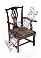 GEORGE III ELM OPEN ARMCHAIR