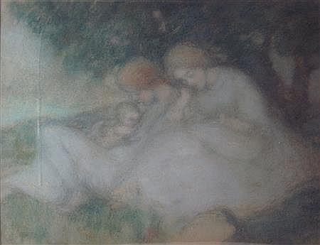 THOMAS COOPER GOTCH (BRITISH 1854-1931) MAIDENS AND A CHILD 35cm x 44.5cm (13.75in x 17.5in)