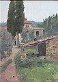 § KEN HOWARD R.A. (BRITISH B.1932) TUSCANY 35.5cm x 25.5cm (14in x 10in)