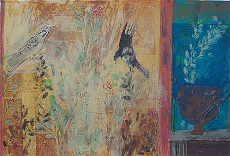 § JOHN MARTIN (BRITISH CONTEMPORARY) BIRDS IN A GARDEN 38cm x 56cm (15in x 22in)