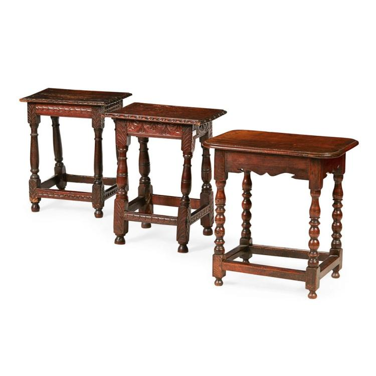 Three oak joint stools 19th century for Furniture 30cm deep