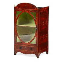 <sup>Y</sup> GEORGE III MAHOGANY, ROSEWOOD AND BOXWOOD MINIATURE VITRINE CABINET LATE 18TH CENTURY 37wide, 72cm high