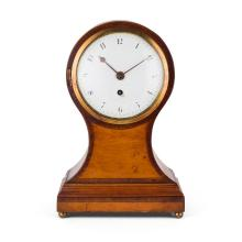 REGENCY SATINWOOD BALLOON SHAPED MANTEL CLOCK EARLY 19TH CENTURY 35cm high