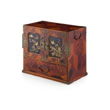 JAPANESE INLAID AND LACQUERED TABLE CABINET 20TH CENTURY 37cm wide, 32cm high 22cm deep