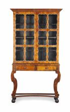 GEORGE I STYLE WALNUT AND PARCEL GILT CABINET ON STAND 20TH CENTURY 104cm wide, 188cm high, 27cm deep
