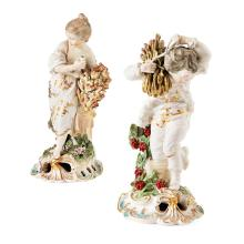 PAIR OF DERBY PORCELAIN FIGURES EMBLEMATIC OF SUMMER AND WINTER 19TH CENTURY 25cm and 24cm high