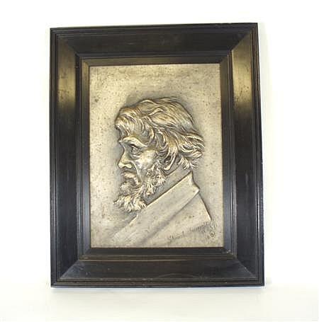 A CAST METAL PORTRAIT PLAQUE OF THOMAS CARLYLE BY STUART BURNETT A.R.S.A. (1853-1888) LATE 19TH CENTURY 29cm x 21cm