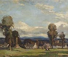 ROBERT HOPE R.S.A (SCOTTISH 1869-1936) THE VILLAGE GREEN 51cm x 61cm (20in x 24in)