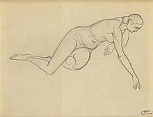 § ANDRE DERAIN (FRENCH 1880-1954) PRONE NUDE 22cm x 28cm (8.5in zx 11in)