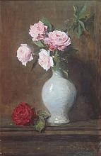 ARCHIBALD DAVID REID A.R.S.A, R.S.W., R.O.I (SCOTTISH 1844-1908) STILL LIFE OF PINK ROSES IN A VASE 50cm x 32cm (19.75in x 12.5in)
