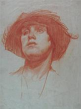 ATTRIBUTED TO JOHN WILLIAM WATERHOUSE (BRITISH 1979-1917) STUDY FOR A PORTRAIT 29cm x 22cm (11.5in x 8.5in)