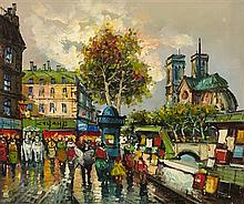 MANNER OF ANTOINE BLANCHARD (FRENCH 1910-1988) VIEW OF NOTRE DAME, PARIS 50cm x 61cm (19.5in x 24in)