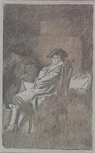 ALEXANDER RUNCIMAN (SCOTTISH 1736-1785) A GENTLEMAN SEATED 17.5cm x 11cm (7in x 4.5in)