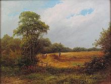 R. PERCY (19TH CENTURY BRITISH SCHOOL) HARVEST 35cm x 45cm (13.75in x 17.75in)