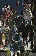 § JAMES CUMMINGS R.S.A., R.S.W. (SCOTTISH 1922-1991) SCOTTISH FIGURES, 1960 74cm x 49cm (29in x 19.25in)