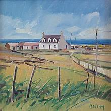 § ROBERT KELSEY (SCOTTISH B.1949) SMALL CROFT, IONA 29cm x 29cm (11.5in x 11.5in)
