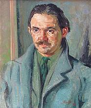 § IAN FLEMING R.S.A., R.S.W. (SCOTTISH 1906-1994) PORTRAIT OF THE ARTIST WILLY WILSON 60cm x 49cm (23.5in x 19.25in)
