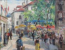 § FERGUS O'RYAN R.H.A. (IRISH 1911-1989) PARISIAN STREET SCENE 34cm x 45cm (13.5in x 17.5in)